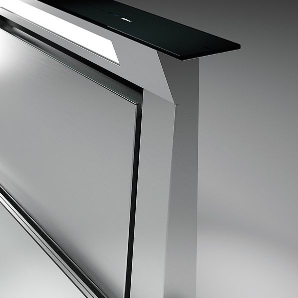 Черная worktop вытяжка FALMEC DOWNDRAFT GLASS BLACK 900 мм со стеклом без мотора